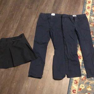 Lot school uniform pants navy skirt sz 6